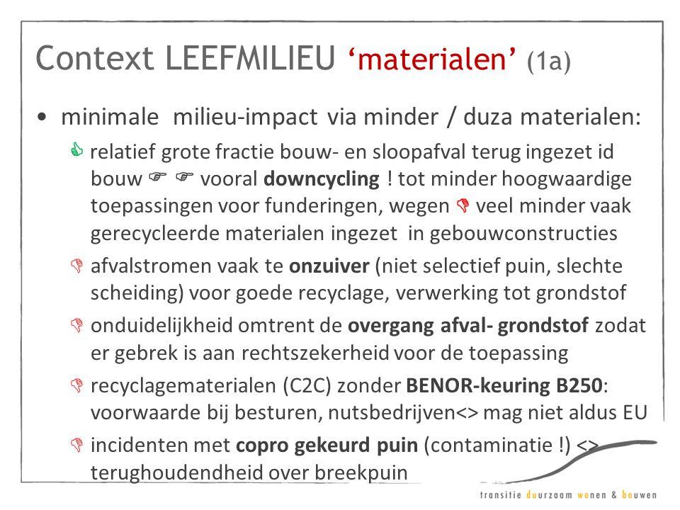 Context LEEFMILIEU 'materialen' (1a) •minimale milieu-impact via minder / duza materialen:  relatief grote fractie bouw- en sloopafval terug ingezet