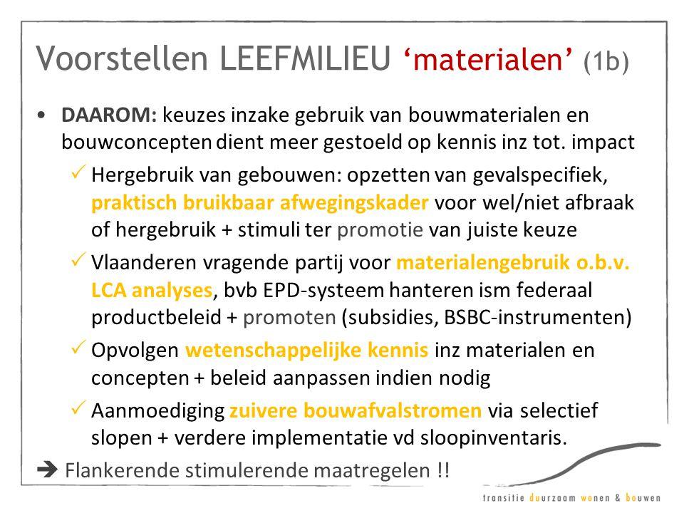 Voorstellen LEEFMILIEU 'materialen' (1b) •DAAROM: keuzes inzake gebruik van bouwmaterialen en bouwconcepten dient meer gestoeld op kennis inz tot. imp