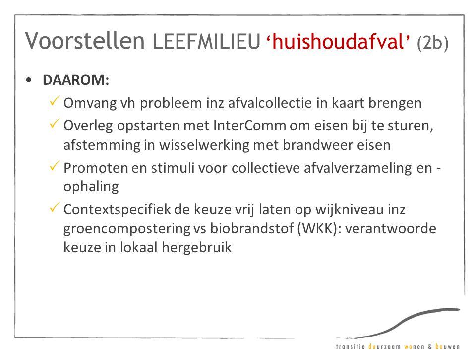 Voorstellen LEEFMILIEU ' huishoudafval ' (2b) •DAAROM:  Omvang vh probleem inz afvalcollectie in kaart brengen  Overleg opstarten met InterComm om e
