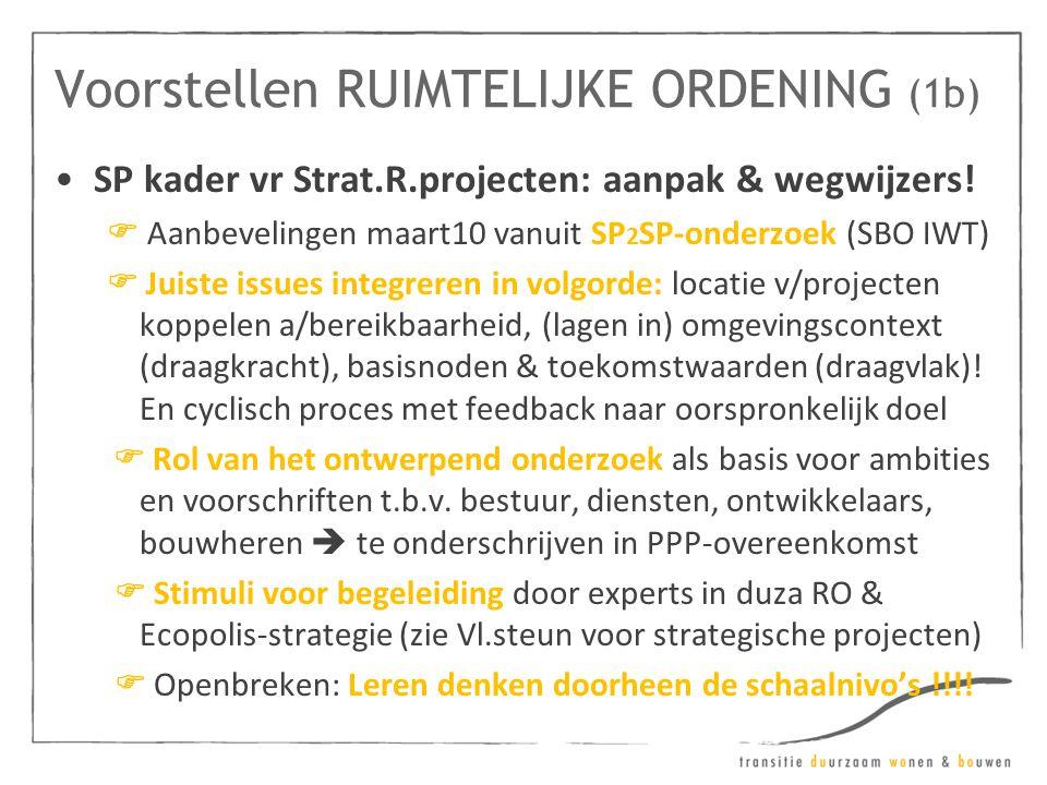 Voorstellen RUIMTELIJKE ORDENING (1b) •SP kader vr Strat.R.projecten: aanpak & wegwijzers!  Aanbevelingen maart10 vanuit SP 2 SP-onderzoek (SBO IWT)