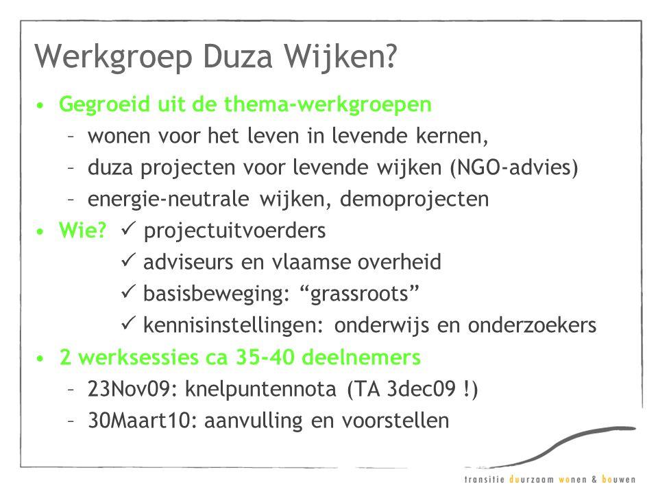 Werkgroep Duza Wijken? •Gegroeid uit de thema-werkgroepen –wonen voor het leven in levende kernen, –duza projecten voor levende wijken (NGO-advies) –e