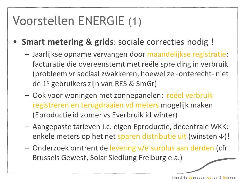 Voorstellen ENERGIE (1) •Smart metering & grids: sociale correcties nodig ! –Jaarlijkse opname vervangen door maandelijkse registratie: facturatie die