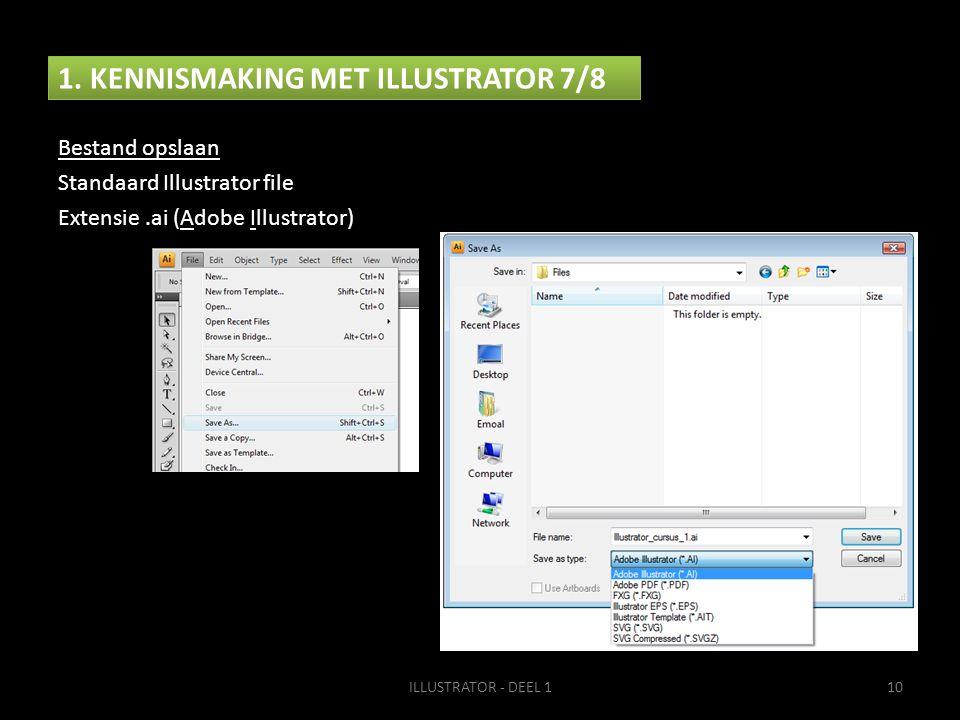 1. KENNISMAKING MET ILLUSTRATOR 7/8 ILLUSTRATOR - DEEL 110 Bestand opslaan Standaard Illustrator file Extensie.ai (Adobe Illustrator)