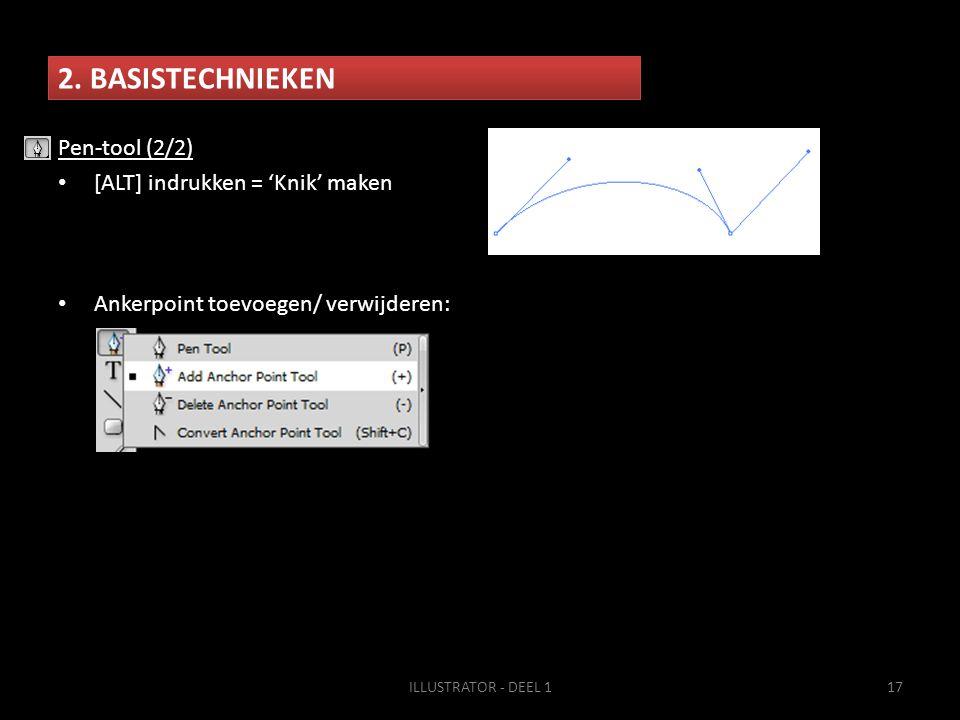 2. BASISTECHNIEKEN ILLUSTRATOR - DEEL 117 Pen-tool (2/2) • [ALT] indrukken = 'Knik' maken • Ankerpoint toevoegen/ verwijderen:
