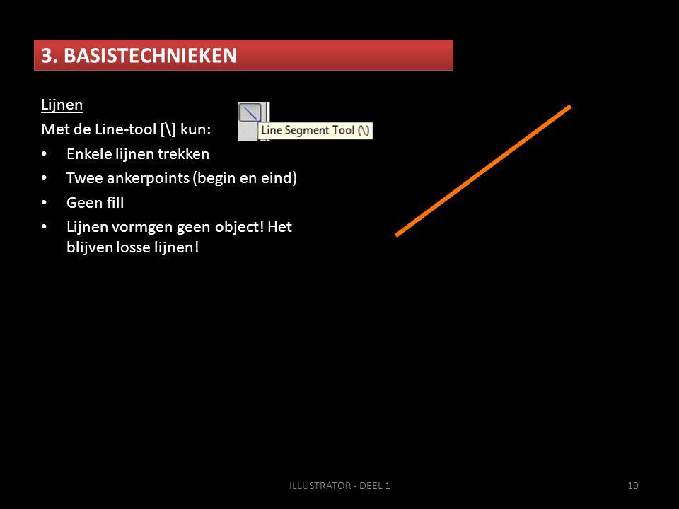 3. BASISTECHNIEKEN ILLUSTRATOR - DEEL 119 Lijnen Met de Line-tool [\] kun: • Enkele lijnen trekken • Twee ankerpoints (begin en eind) • Geen fill • Li