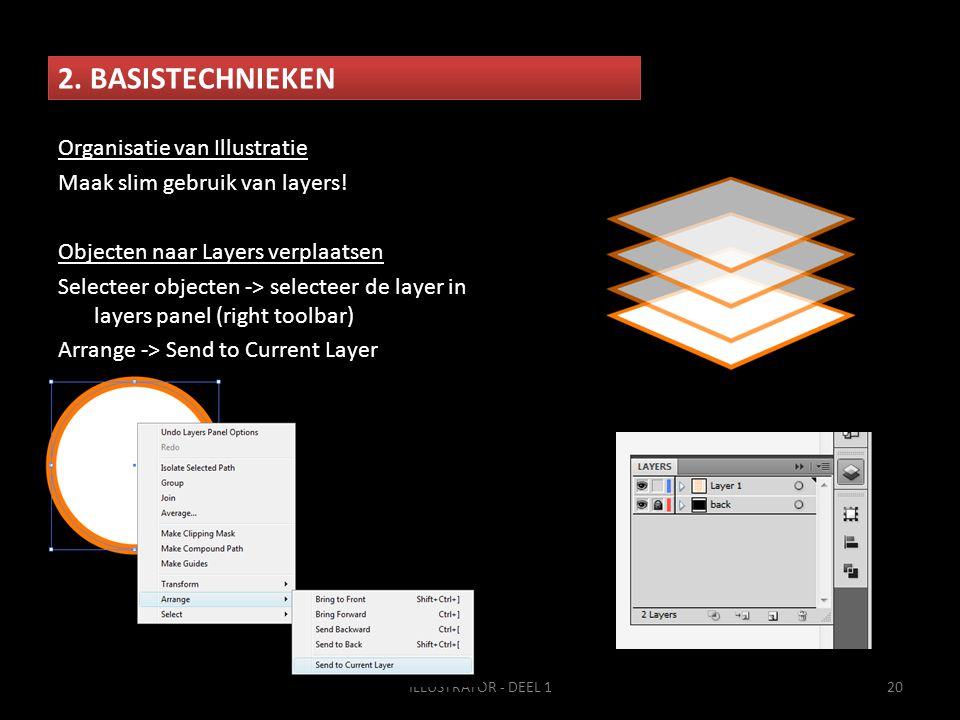 2. BASISTECHNIEKEN ILLUSTRATOR - DEEL 120 Organisatie van Illustratie Maak slim gebruik van layers! Objecten naar Layers verplaatsen Selecteer objecte