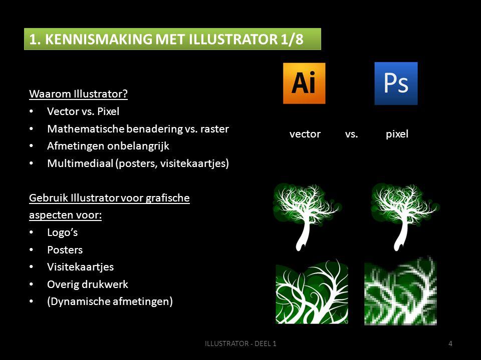 1. KENNISMAKING MET ILLUSTRATOR 1/8 Waarom Illustrator? • Vector vs. Pixel • Mathematische benadering vs. raster • Afmetingen onbelangrijk • Multimedi