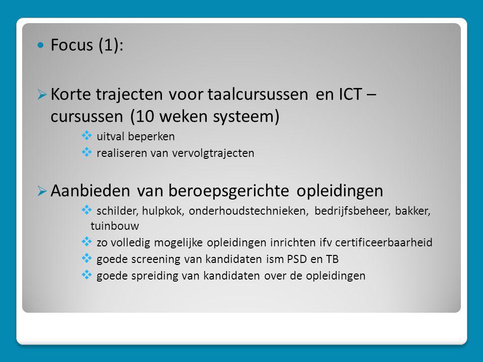  Focus (1):  Korte trajecten voor taalcursussen en ICT – cursussen (10 weken systeem)  uitval beperken  realiseren van vervolgtrajecten  Aanbieden van beroepsgerichte opleidingen  schilder, hulpkok, onderhoudstechnieken, bedrijfsbeheer, bakker, tuinbouw  zo volledig mogelijke opleidingen inrichten ifv certificeerbaarheid  goede screening van kandidaten ism PSD en TB  goede spreiding van kandidaten over de opleidingen