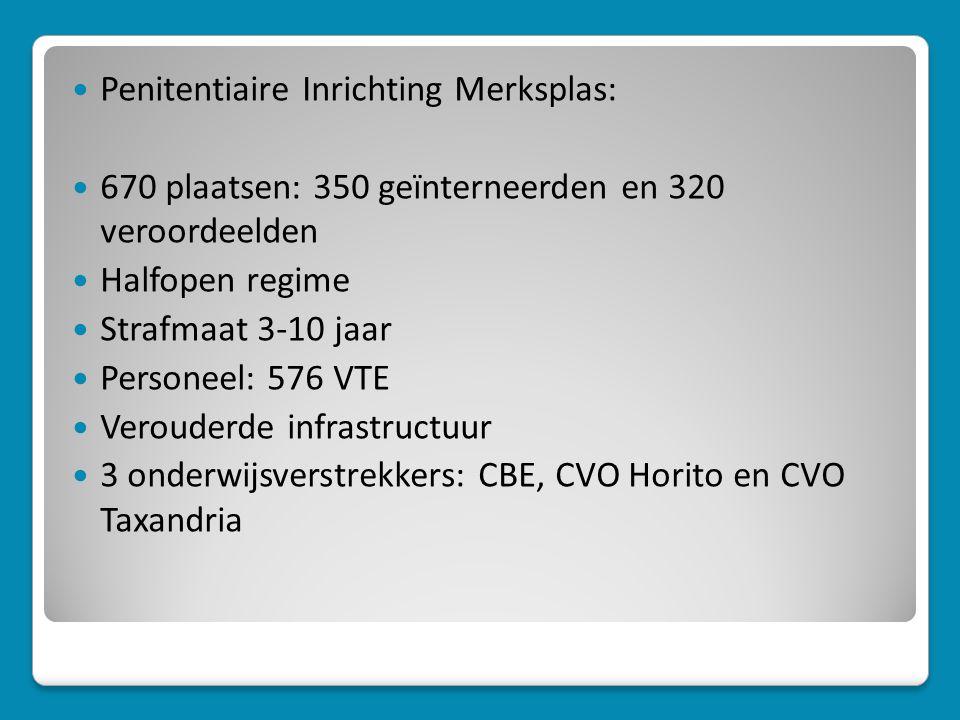  Penitentiaire Inrichting Merksplas:  670 plaatsen: 350 geïnterneerden en 320 veroordeelden  Halfopen regime  Strafmaat 3-10 jaar  Personeel: 576 VTE  Verouderde infrastructuur  3 onderwijsverstrekkers: CBE, CVO Horito en CVO Taxandria