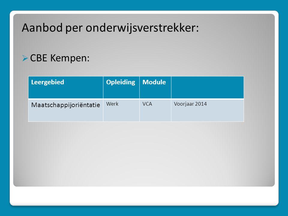 Aanbod per onderwijsverstrekker:  CBE Kempen: LeergebiedOpleidingModule Maatschappijoriëntatie WerkVCAVoorjaar 2014