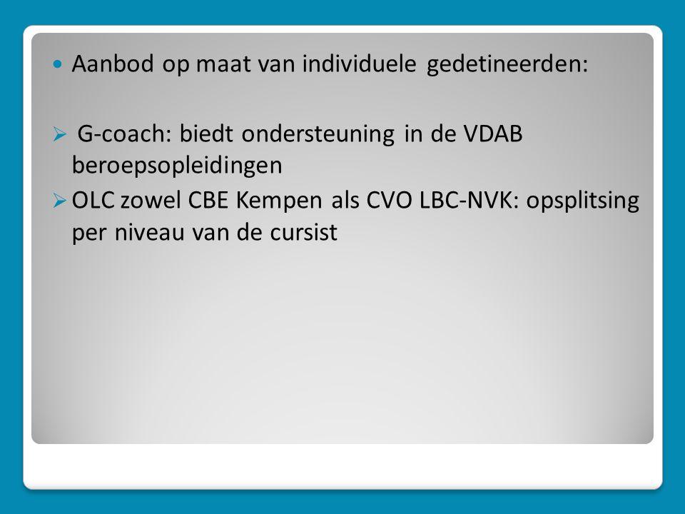  Aanbod op maat van individuele gedetineerden:  G-coach: biedt ondersteuning in de VDAB beroepsopleidingen  OLC zowel CBE Kempen als CVO LBC-NVK: opsplitsing per niveau van de cursist