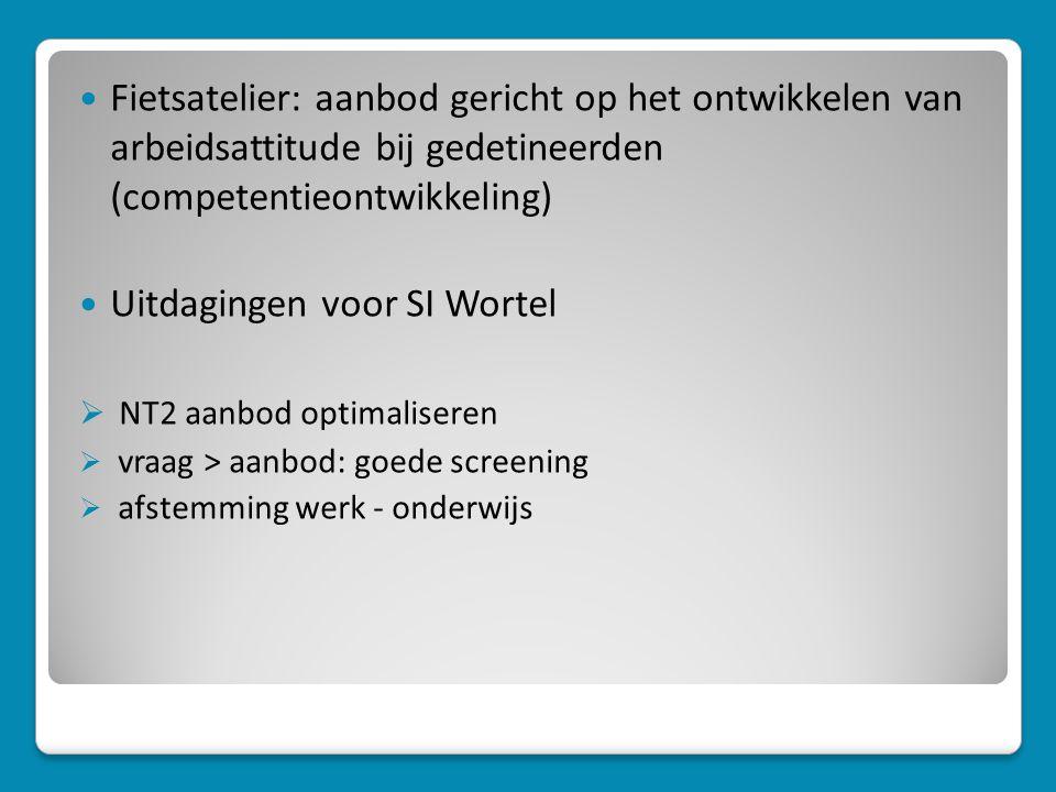  Fietsatelier: aanbod gericht op het ontwikkelen van arbeidsattitude bij gedetineerden (competentieontwikkeling)  Uitdagingen voor SI Wortel  NT2 aanbod optimaliseren  vraag > aanbod: goede screening  afstemming werk - onderwijs