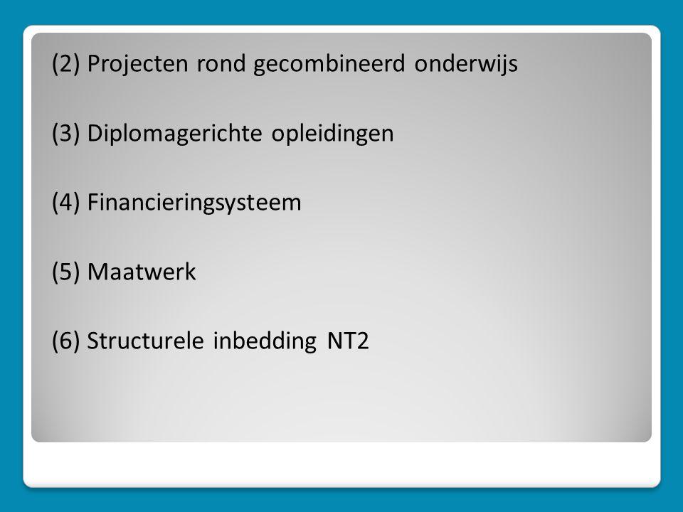 (2) Projecten rond gecombineerd onderwijs (3) Diplomagerichte opleidingen (4) Financieringsysteem (5) Maatwerk (6) Structurele inbedding NT2