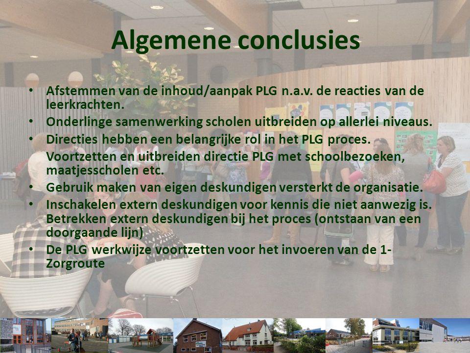 • Afstemmen van de inhoud/aanpak PLG n.a.v. de reacties van de leerkrachten. • Onderlinge samenwerking scholen uitbreiden op allerlei niveaus. • Direc
