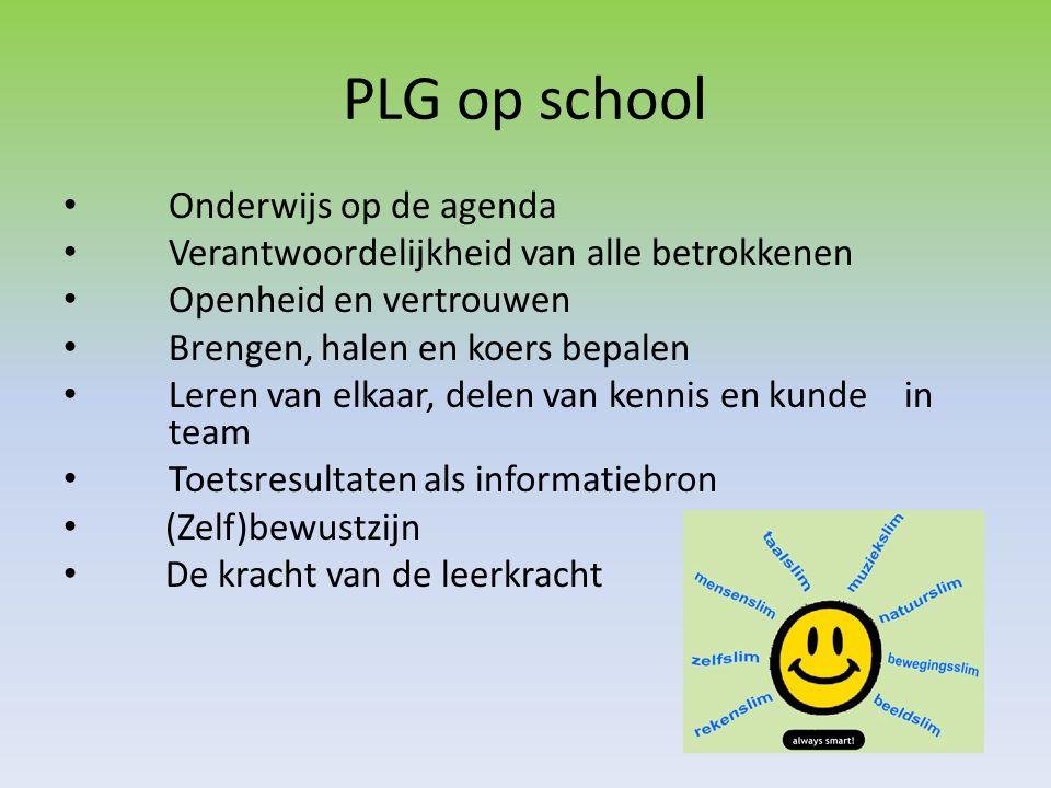 PLG op school • Onderwijs op de agenda • Verantwoordelijkheid van alle betrokkenen • Openheid en vertrouwen • Brengen, halen en koers bepalen • Leren