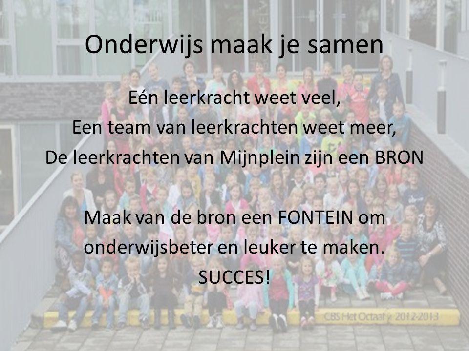 Onderwijs maak je samen Eén leerkracht weet veel, Een team van leerkrachten weet meer, De leerkrachten van Mijnplein zijn een BRON Maak van de bron ee