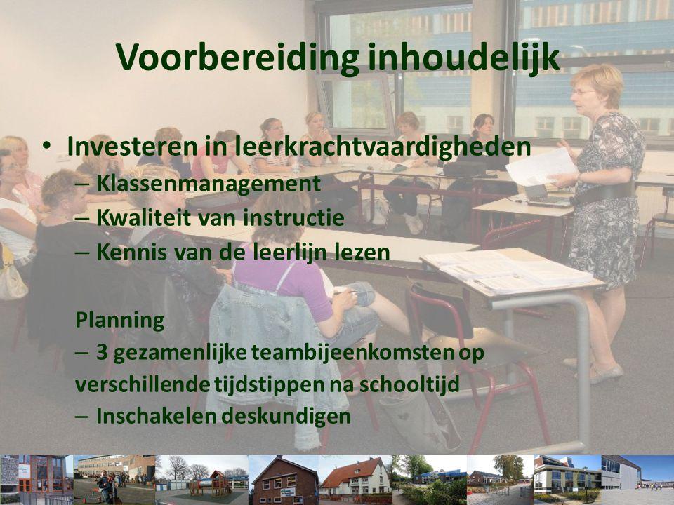• Investeren in leerkrachtvaardigheden – Klassenmanagement – Kwaliteit van instructie – Kennis van de leerlijn lezen Planning – 3 gezamenlijke teambij