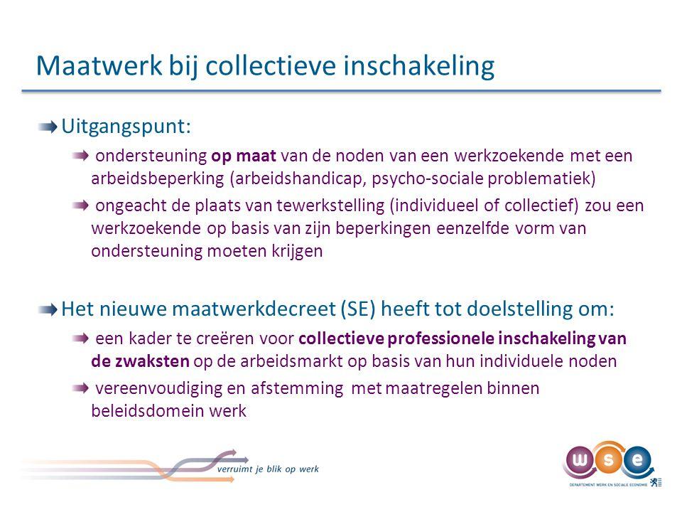 Maatwerk bij collectieve inschakeling Uitgangspunt: ondersteuning op maat van de noden van een werkzoekende met een arbeidsbeperking (arbeidshandicap,
