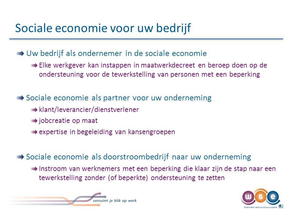 Sociale economie voor uw bedrijf Uw bedrijf als ondernemer in de sociale economie Elke werkgever kan instappen in maatwerkdecreet en beroep doen op de