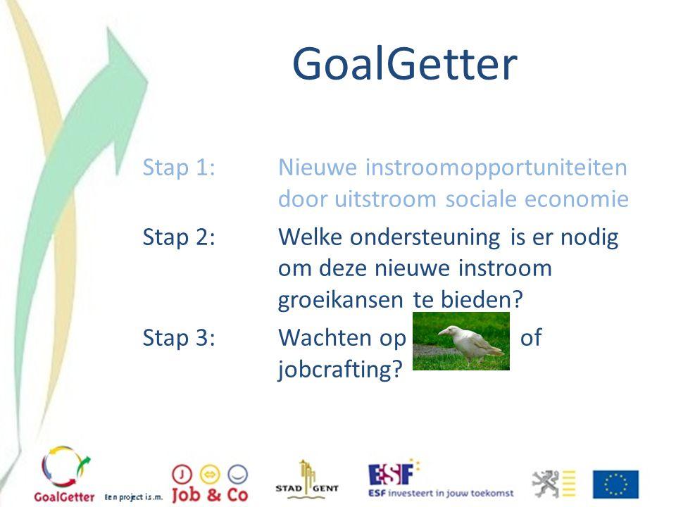 GoalGetter Stap 1: Nieuwe instroomopportuniteiten door uitstroom sociale economie Stap 2:Welke ondersteuning is er nodig om deze nieuwe instroom groei