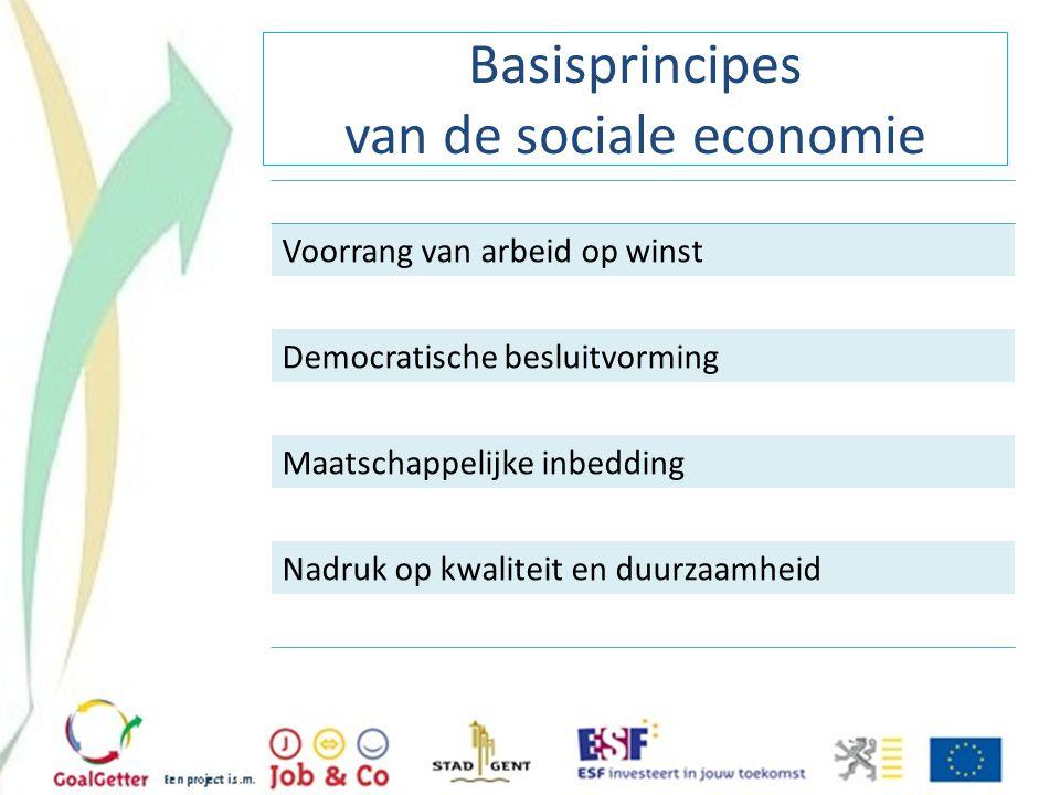 Basisprincipes van de sociale economie Voorrang van arbeid op winst Democratische besluitvorming Maatschappelijke inbedding Nadruk op kwaliteit en duu