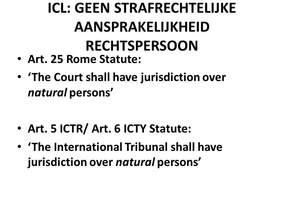 ARGUMENTEN TEGEN 'CORPORATE CRIMINAL RESPONSIBILITY' • 'SOCIETAS DELINQUERE NON POTEST' ('NO SOUL TO DAMN, NO BODY TO KICK') • AVERSIE TEGEN 'VICARIOUS LIABILITY' • COMPLEMENTARITEIT (ICC)
