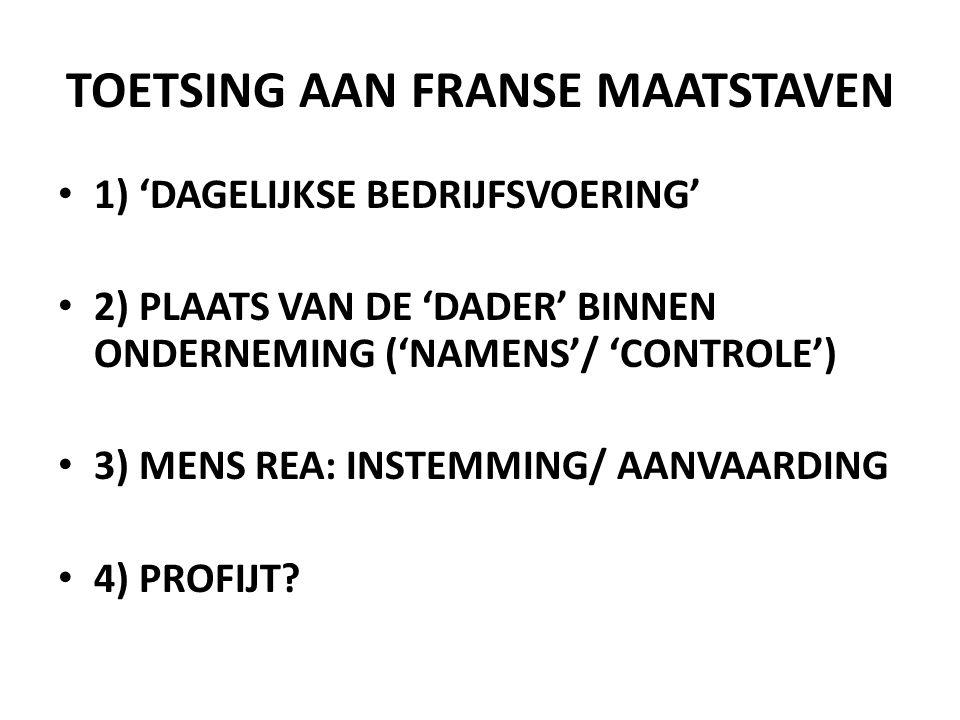 TOETSING AAN FRANSE MAATSTAVEN • 1) 'DAGELIJKSE BEDRIJFSVOERING' • 2) PLAATS VAN DE 'DADER' BINNEN ONDERNEMING ('NAMENS'/ 'CONTROLE') • 3) MENS REA: INSTEMMING/ AANVAARDING • 4) PROFIJT