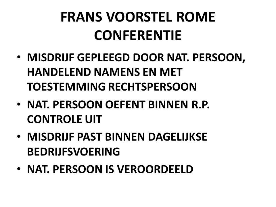 FRANS VOORSTEL ROME CONFERENTIE • MISDRIJF GEPLEEGD DOOR NAT.