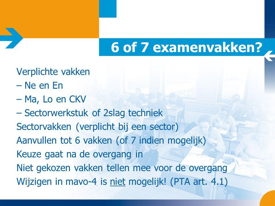 6 of 7 examenvakken? Verplichte vakken – Ne en En – Ma, Lo en CKV – Sectorwerkstuk of 2slag techniek Sectorvakken (verplicht bij een sector) Aanvullen