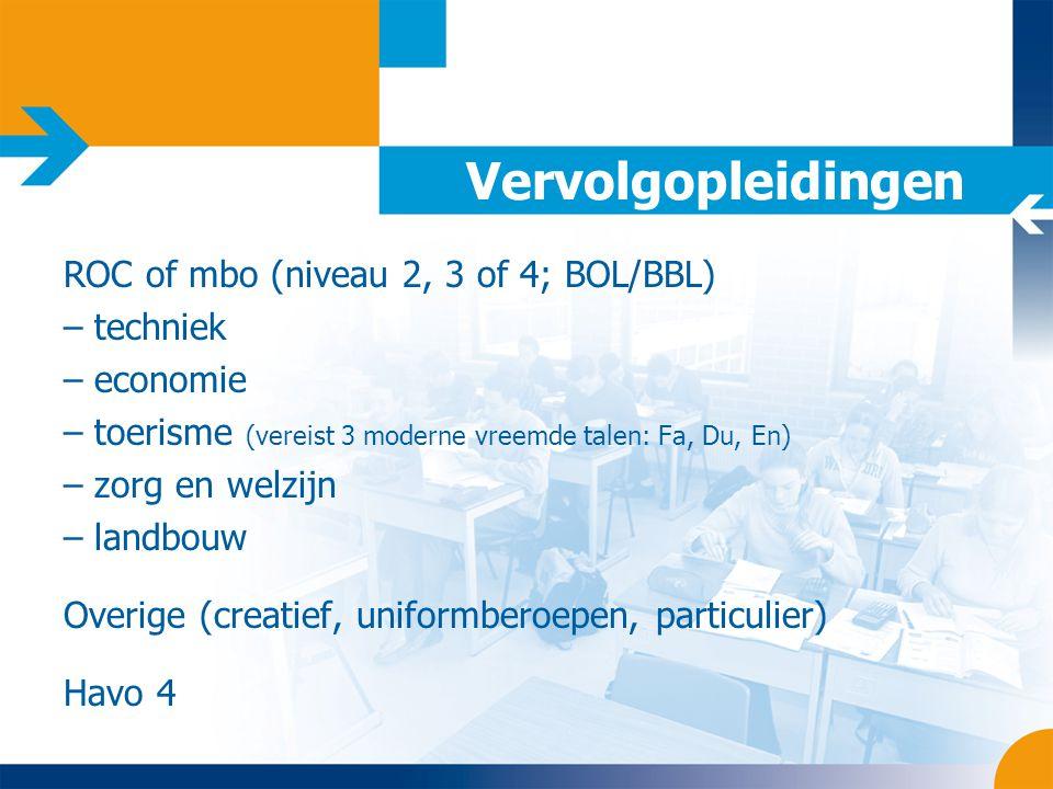 Vervolgopleidingen ROC of mbo (niveau 2, 3 of 4; BOL/BBL) – techniek – economie – toerisme (vereist 3 moderne vreemde talen: Fa, Du, En) – zorg en wel