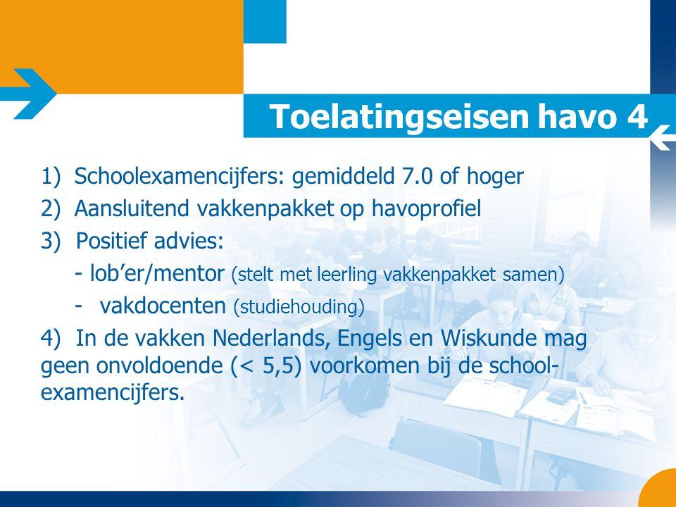 Toelatingseisen havo 4 1)Schoolexamencijfers: gemiddeld 7.0 of hoger 2)Aansluitend vakkenpakket op havoprofiel 3) Positief advies: - lob'er/mentor (st