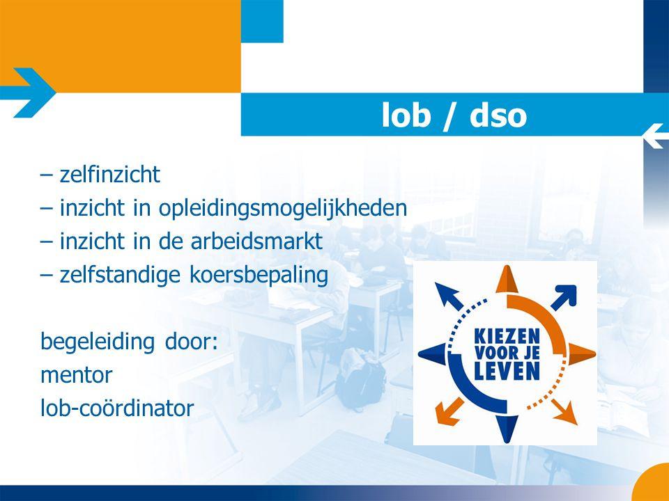 lob / dso – zelfinzicht – inzicht in opleidingsmogelijkheden – inzicht in de arbeidsmarkt – zelfstandige koersbepaling begeleiding door: mentor lob-co
