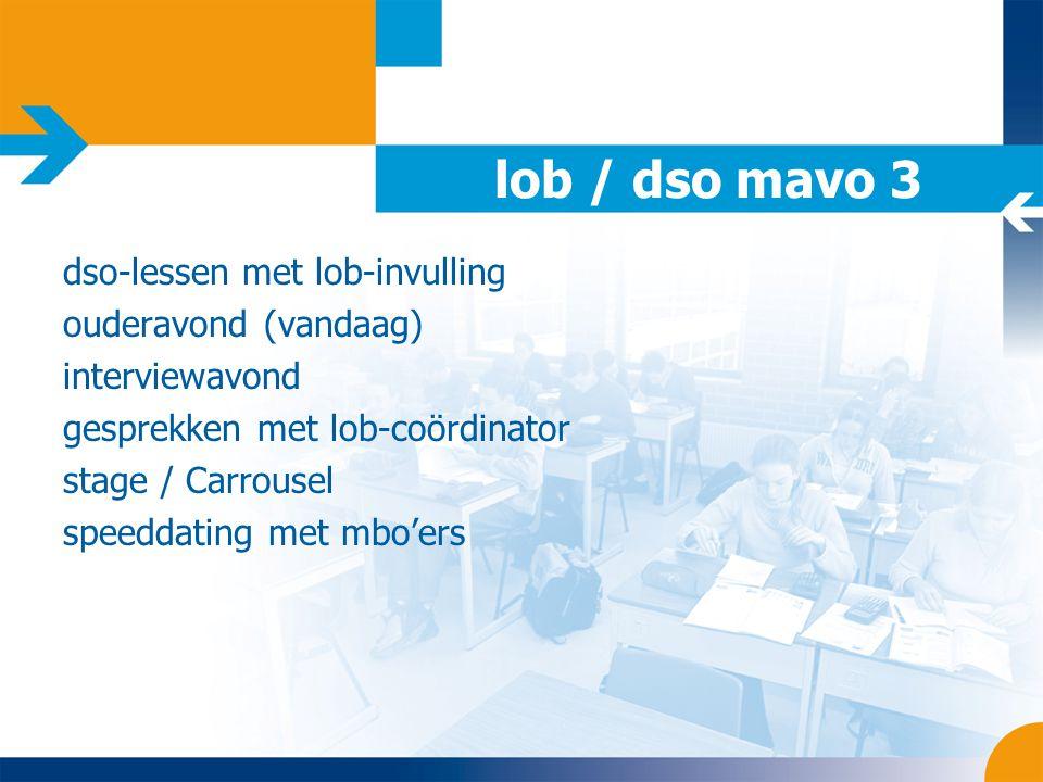 lob / dso mavo 3 dso-lessen met lob-invulling ouderavond (vandaag) interviewavond gesprekken met lob-coördinator stage / Carrousel speeddating met mbo