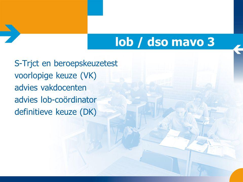 lob / dso mavo 3 S-Trjct en beroepskeuzetest voorlopige keuze (VK) advies vakdocenten advies lob-coördinator definitieve keuze (DK)