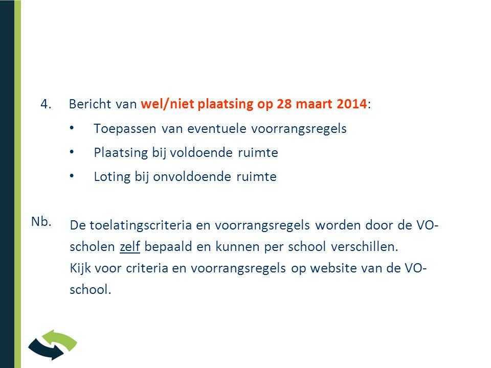 4. Bericht van wel/niet plaatsing op 28 maart 2014: • Toepassen van eventuele voorrangsregels • Plaatsing bij voldoende ruimte • Loting bij onvoldoend