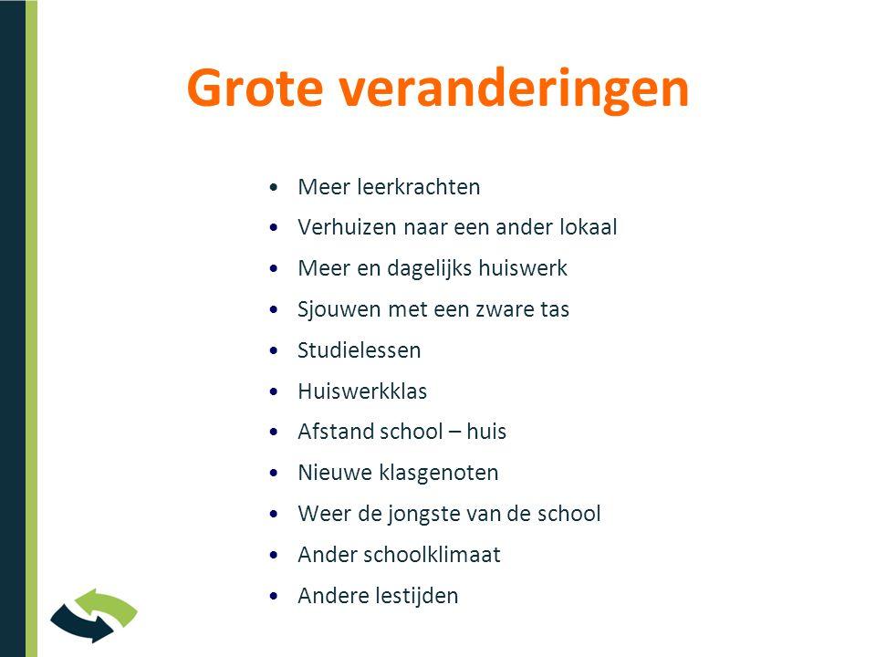 Grote veranderingen •Meer leerkrachten •Verhuizen naar een ander lokaal •Meer en dagelijks huiswerk •Sjouwen met een zware tas •Studielessen •Huiswerk