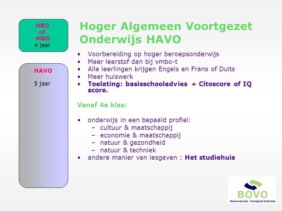 Hoger Algemeen Voortgezet Onderwijs HAVO •Voorbereiding op hoger beroepsonderwijs •Meer leerstof dan bij vmbo-t •Alle leerlingen krijgen Engels en Fra