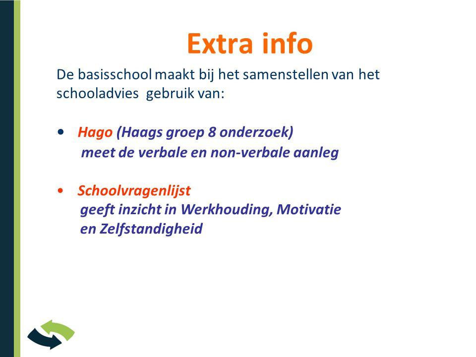 Extra info De basisschool maakt bij het samenstellen van het schooladvies gebruik van: • Hago (Haags groep 8 onderzoek) meet de verbale en non-verbale