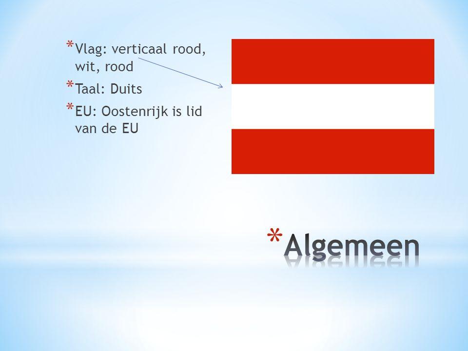 * Vlag: verticaal rood, wit, rood * Taal: Duits * EU: Oostenrijk is lid van de EU