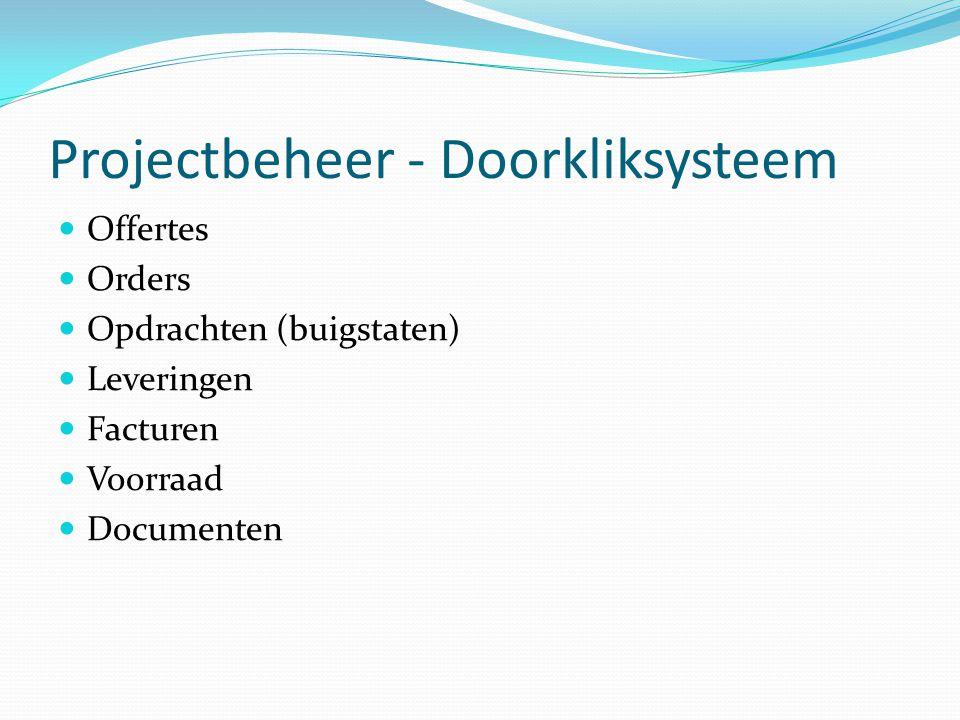 Projectbeheer - Doorkliksysteem  Offertes  Orders  Opdrachten (buigstaten)  Leveringen  Facturen  Voorraad  Documenten