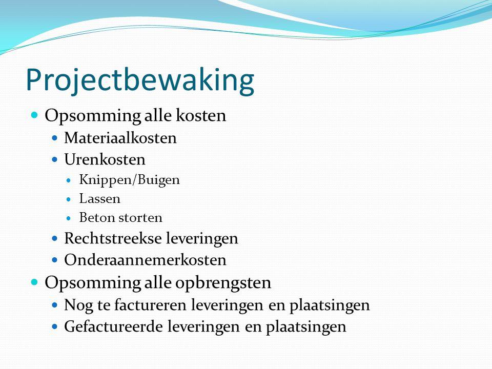 Projectbewaking  Opsomming alle kosten  Materiaalkosten  Urenkosten  Knippen/Buigen  Lassen  Beton storten  Rechtstreekse leveringen  Onderaan