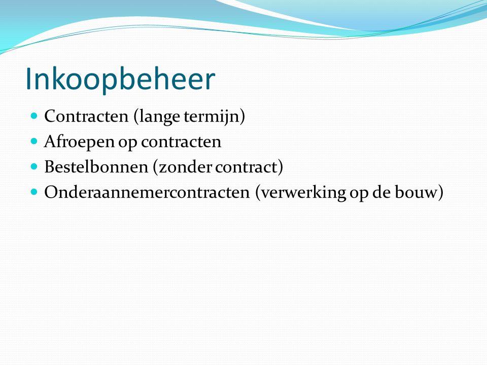 Inkoopbeheer  Contracten (lange termijn)  Afroepen op contracten  Bestelbonnen (zonder contract)  Onderaannemercontracten (verwerking op de bouw)