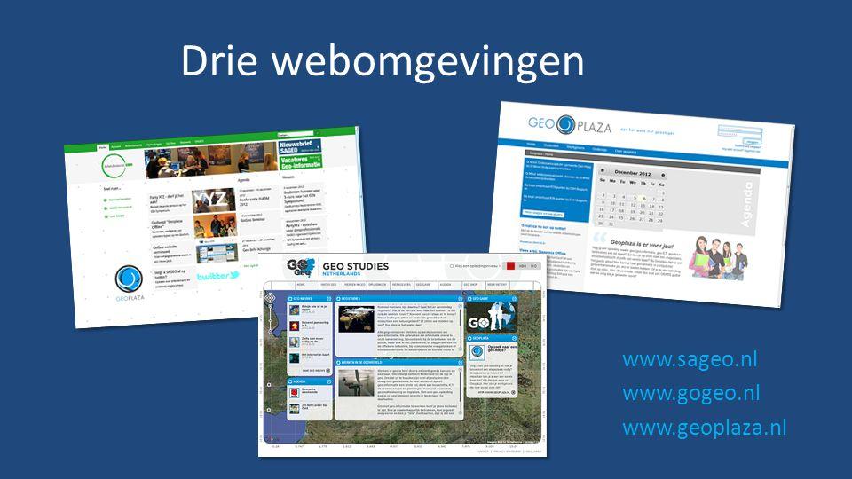 Drie webomgevingen www.sageo.nl www.gogeo.nl www.geoplaza.nl