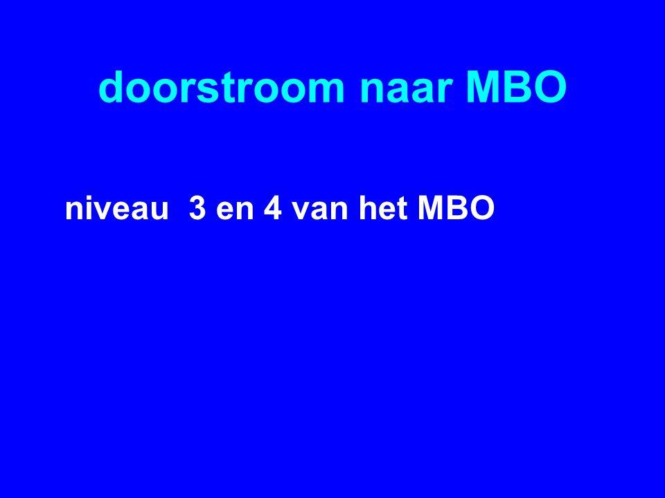 doorstroom naar MBO niveau 3 en 4 van het MBO