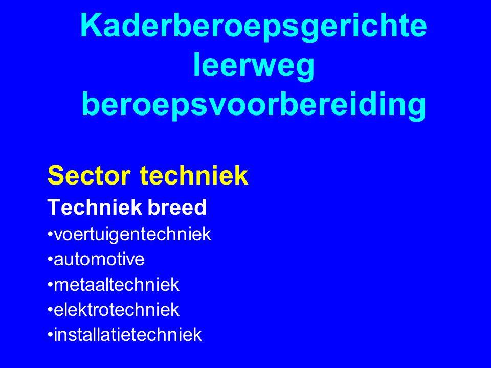 Kaderberoepsgerichte leerweg beroepsvoorbereiding Sector techniek Techniek breed •voertuigentechniek •automotive •metaaltechniek •elektrotechniek •installatietechniek