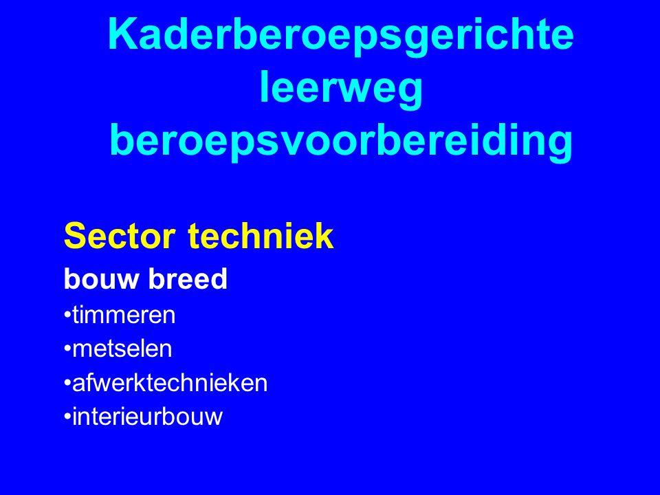 Kaderberoepsgerichte leerweg beroepsvoorbereiding Sector techniek bouw breed •timmeren •metselen •afwerktechnieken •interieurbouw