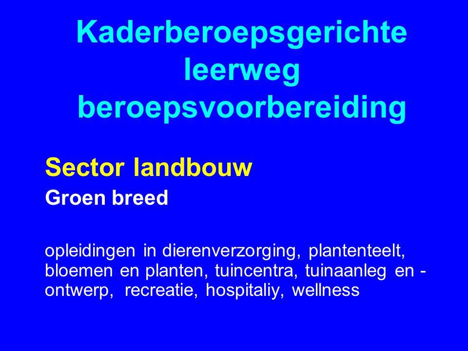 Kaderberoepsgerichte leerweg beroepsvoorbereiding Sector landbouw Groen breed opleidingen in dierenverzorging, plantenteelt, bloemen en planten, tuincentra, tuinaanleg en - ontwerp, recreatie, hospitaliy, wellness