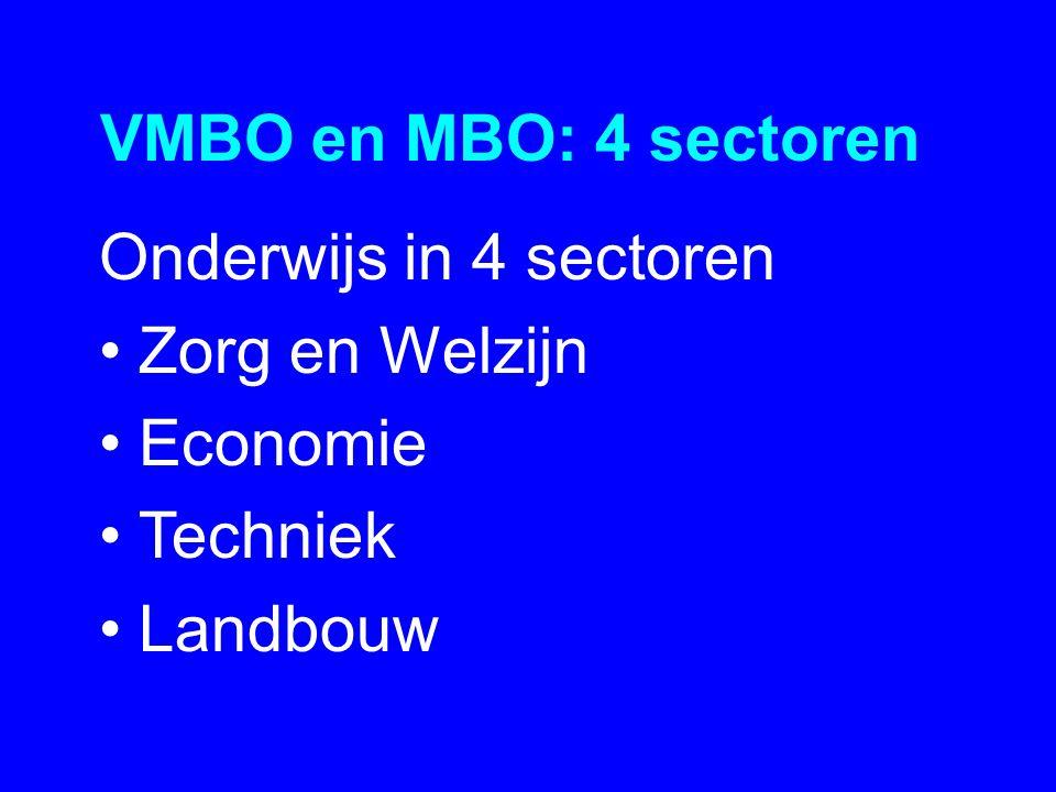 VMBO en MBO: 4 sectoren Onderwijs in 4 sectoren •Zorg en Welzijn •Economie •Techniek •Landbouw
