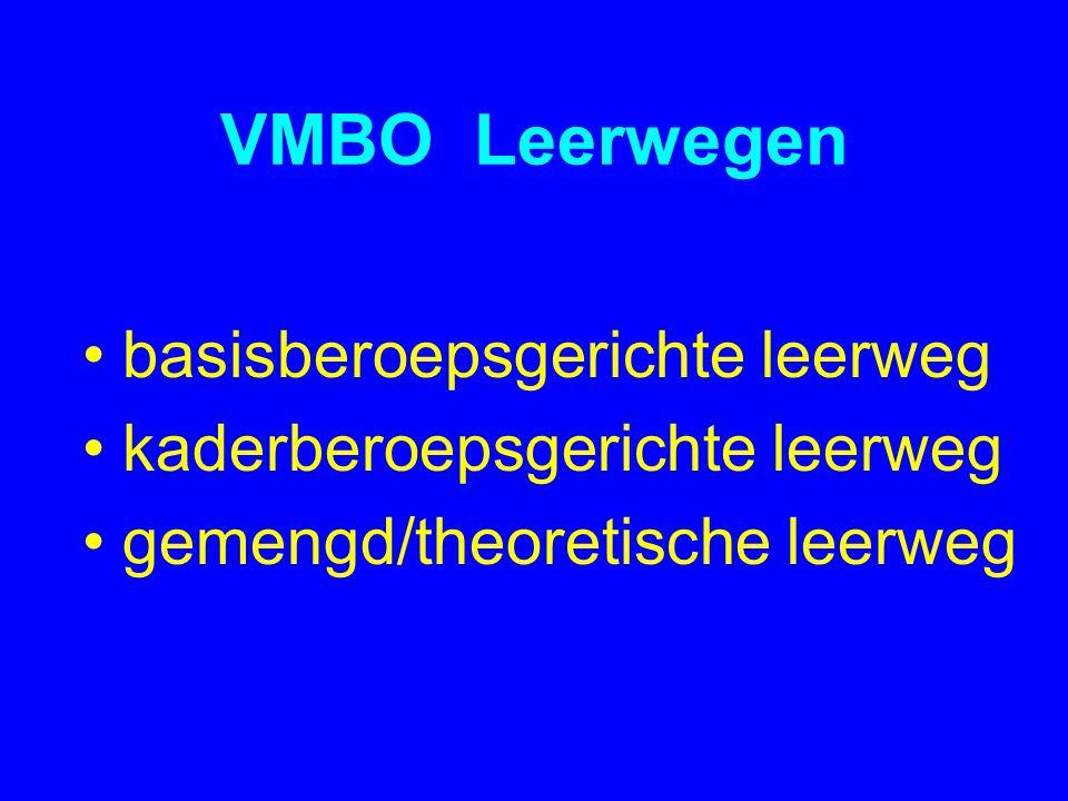 VMBO Leerwegen •basisberoepsgerichte leerweg •kaderberoepsgerichte leerweg •gemengd/theoretische leerweg