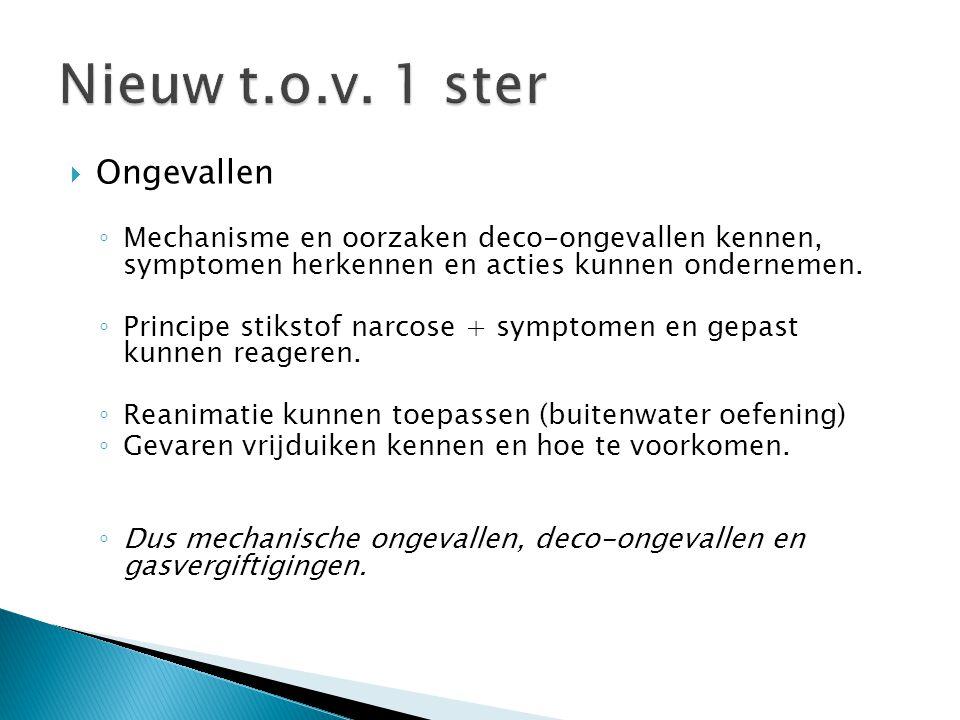  Ongevallen ◦ Mechanisme en oorzaken deco-ongevallen kennen, symptomen herkennen en acties kunnen ondernemen. ◦ Principe stikstof narcose + symptomen